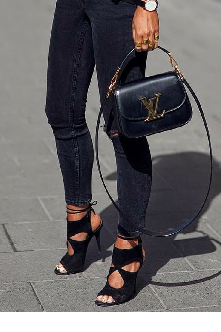 sneakers and pearls, street style, black rippped jeans with heels and gold accessories is the answer to a casual Friday night drink, trending now.png