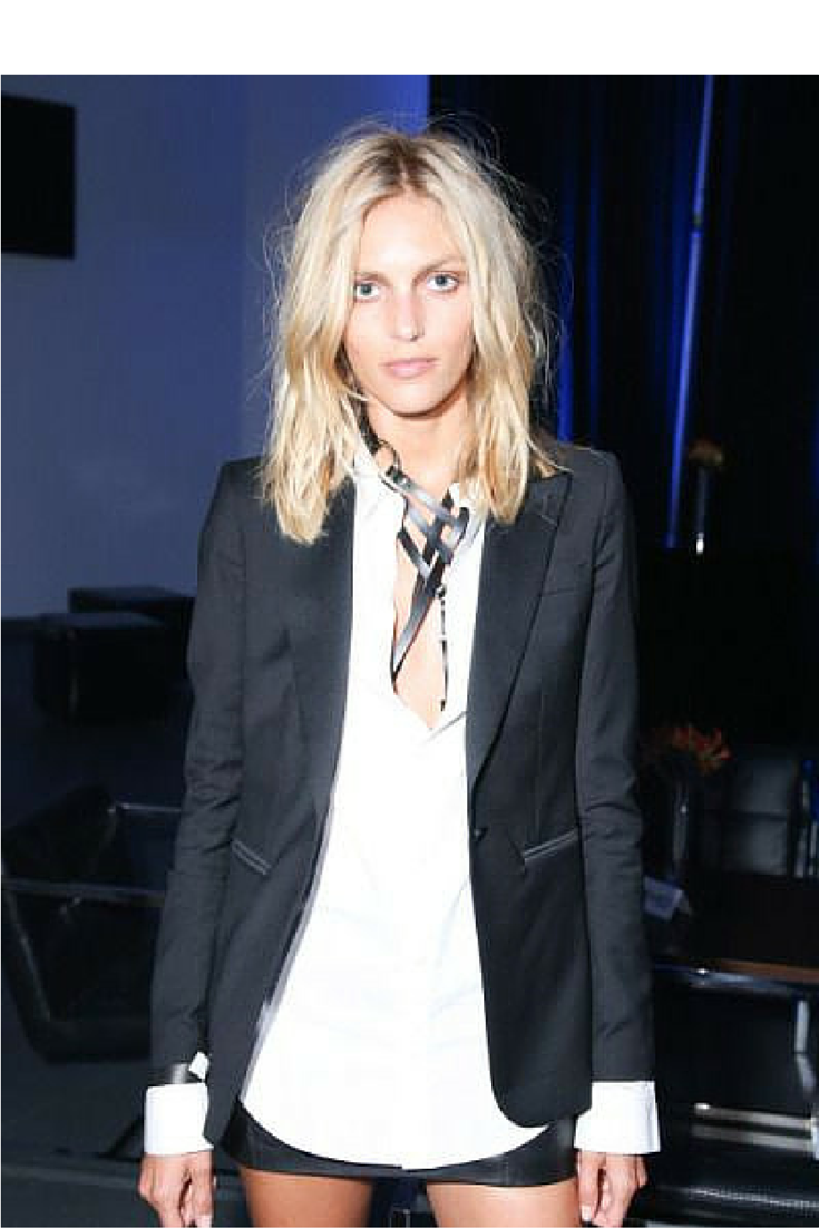 sneakers and pearls, black skirt suit with sexy underwear under a white cotton shirt, trending now.png