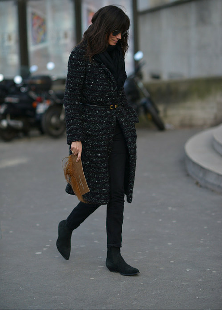 sneakers and pearls, streetstyle, black pants, belt over a coat, Emmanuelle Alt, trending now, la cool et chic.png
