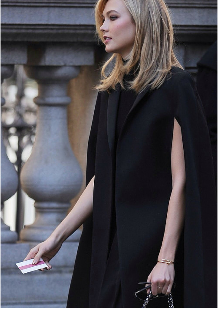 sneakers and pearls,street style, black cape, Karlie Kloss, trending now, lovely--delight.png