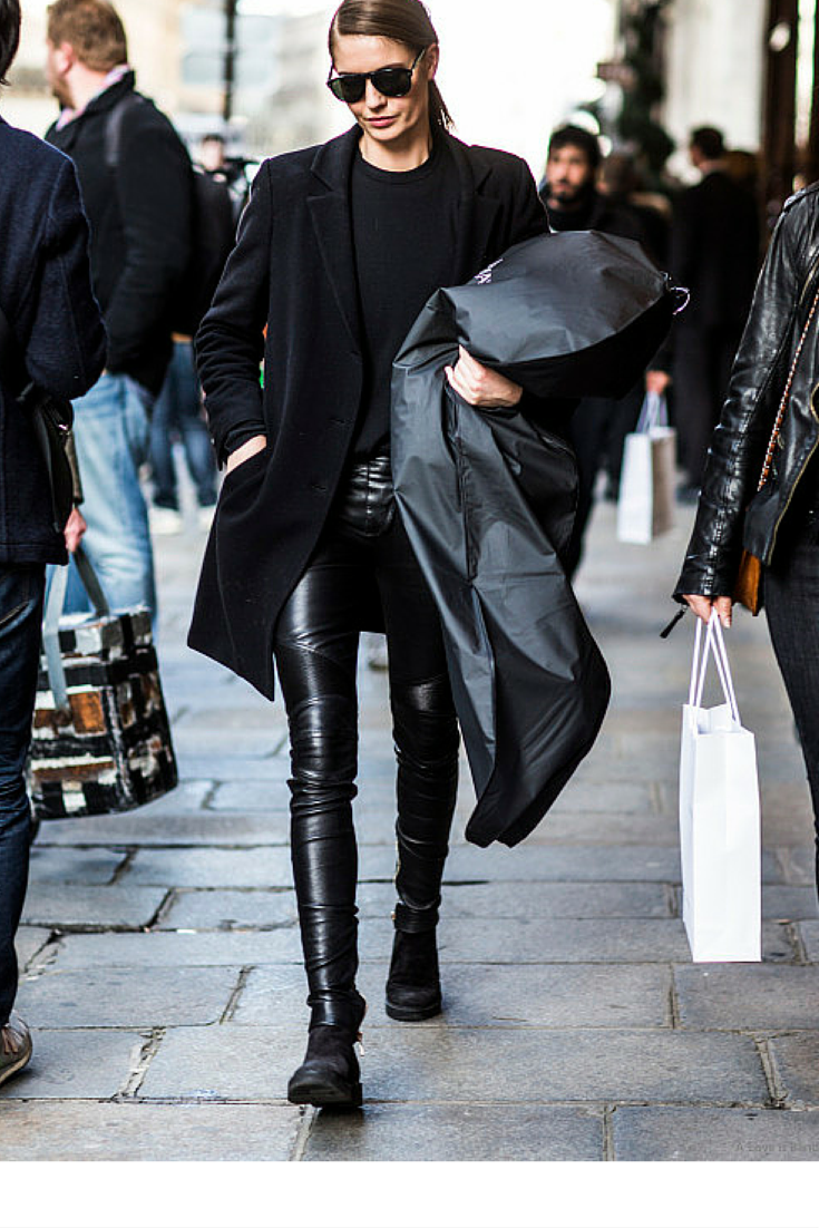 sneakers and pearls, streetstyle, total black look, black leather pants, black wet look pants, black coat, black crew neck jumper, effortless chic,trending now, vickynspiration.png
