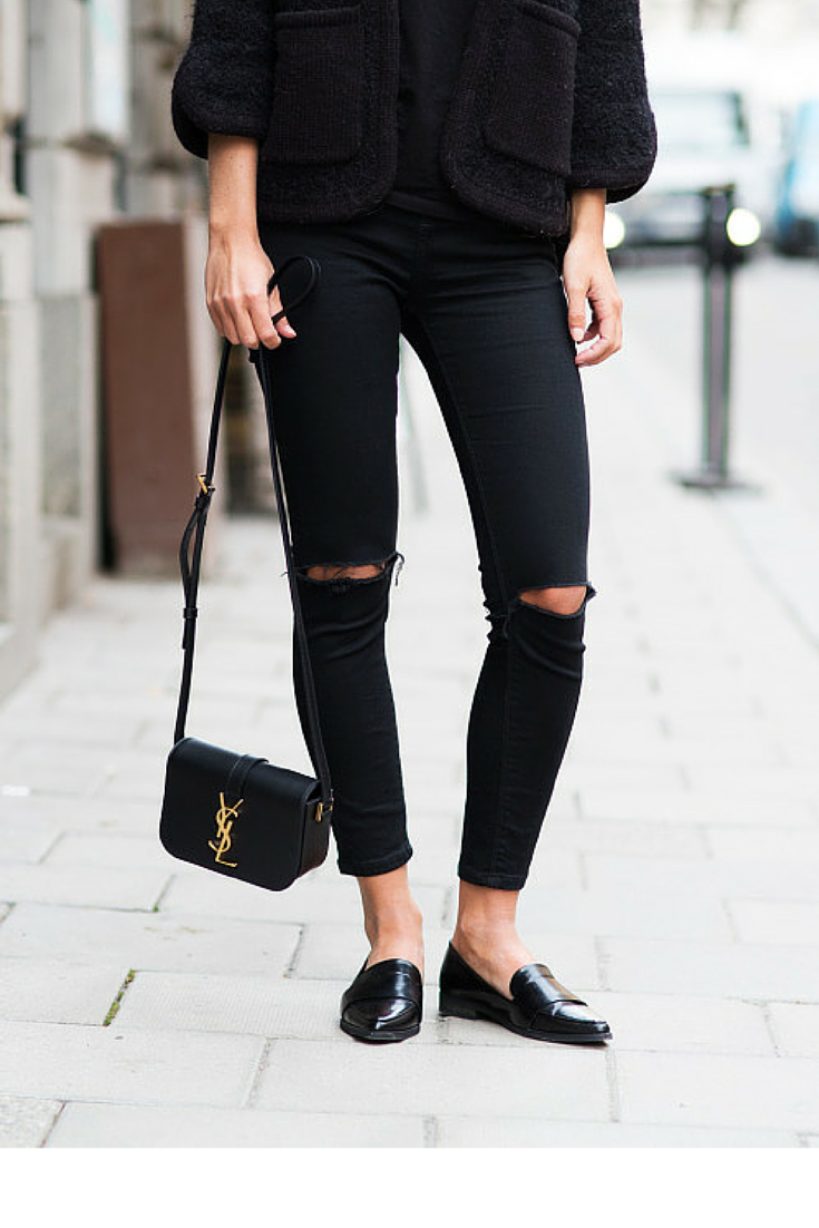 sneakers and pearls, street style, total black look, ripped jeans with loafers for an understated elegance, trending now,vickynspiration.png