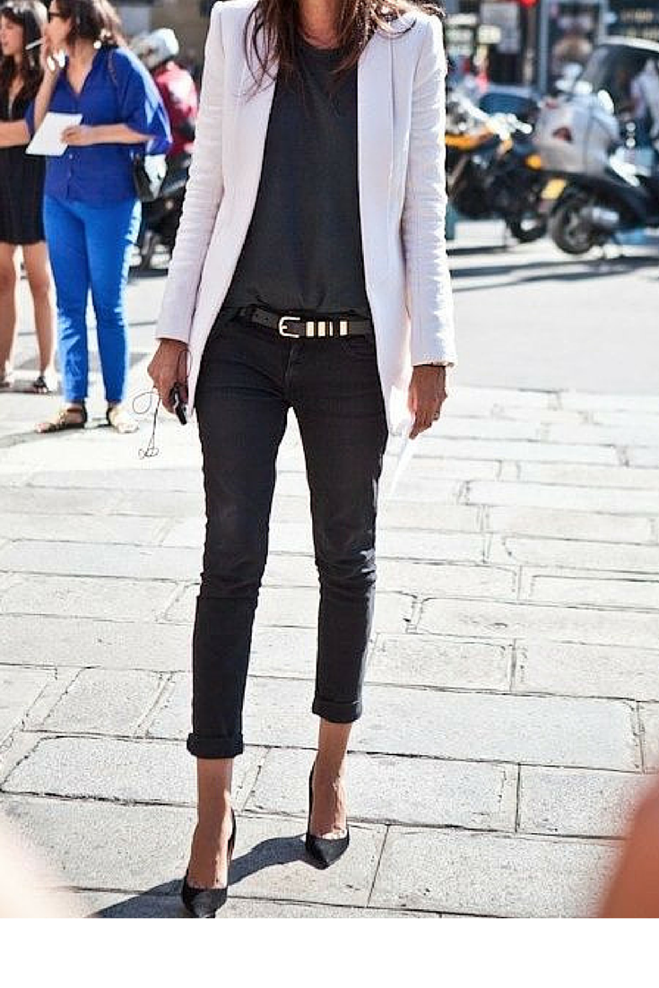 sneakers and pearls, trending now, ankle length pants with kitten heels a tee and a blazer equals French chic style, Emmanuelle Alt, trending now, lovely--delight.png