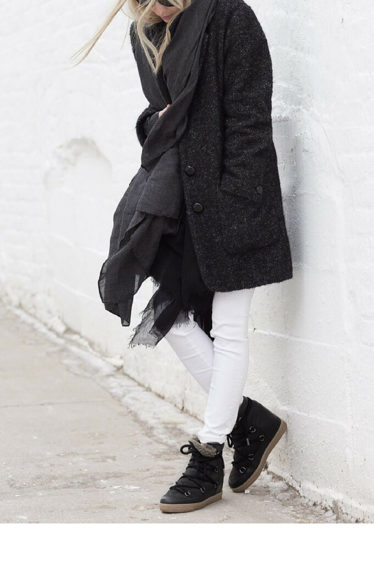 sneakers and pearls, streetstyle, white jeans, black booties, masculine grey coat, black scarf, trending now, miss zeit.png