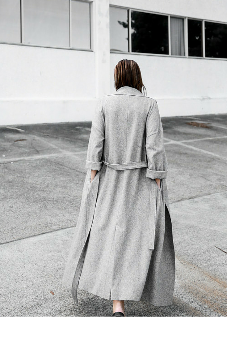 sneakers and pearls, grey long coat with belt, street style, trending now, la cool et chic.png