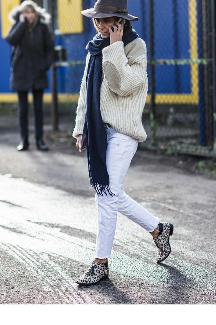 sneakers and pearls, streetstyle, white jeans, beige jumper, felt hat, leopard brogues,trending now, fashion, fall in whatever.png