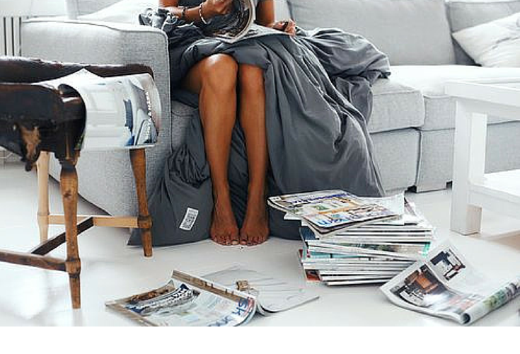 sneakers and pearls, wrapped in sheets and browsing magazines, the perfect way to spend a Saturday afternoon, trending now.png