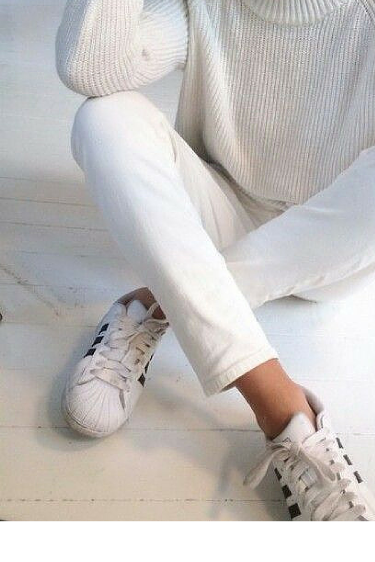 sneakers and pearls, casual elegance in total white look with Adidas sneakers, trending now.png
