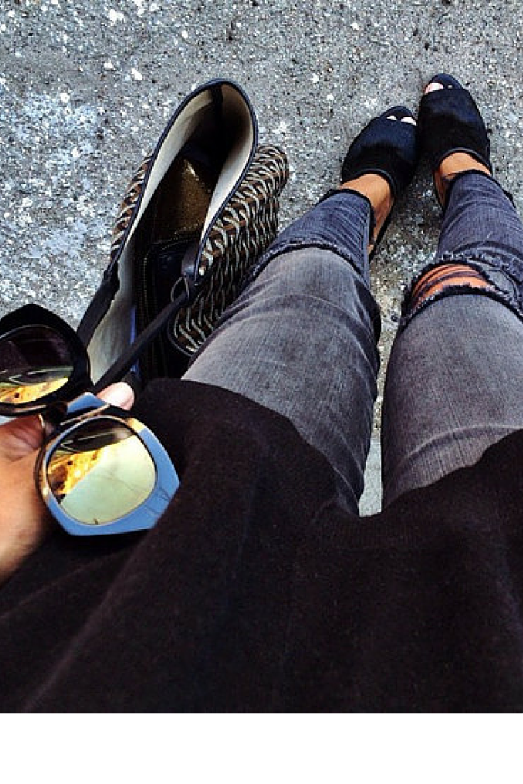 sneakers and pearls, street style, ripped jeans with black mules and a black tee for casual chic, trending now, thisisafsahionblog.png