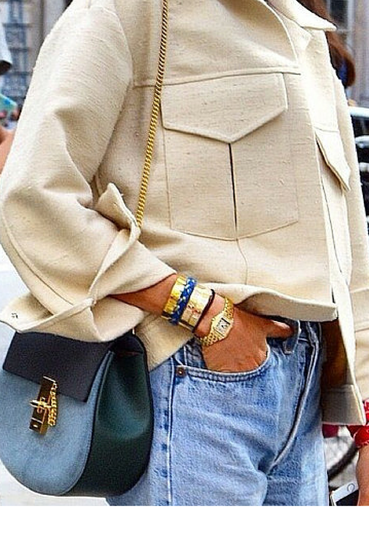 sneakers and pearls, streetstyle,beige jacket, large pockets, gold watch, Celine bag, wrist scarf, trending now, fashion, fall in whatever.png