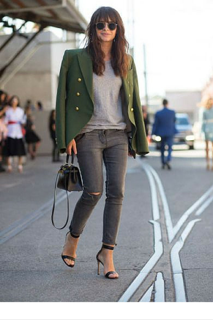 sneakers and pearls, street style, wear your fitted jeans with heels, team them up with a plain tee and a bold blazer for a bigger impact, trending now.png