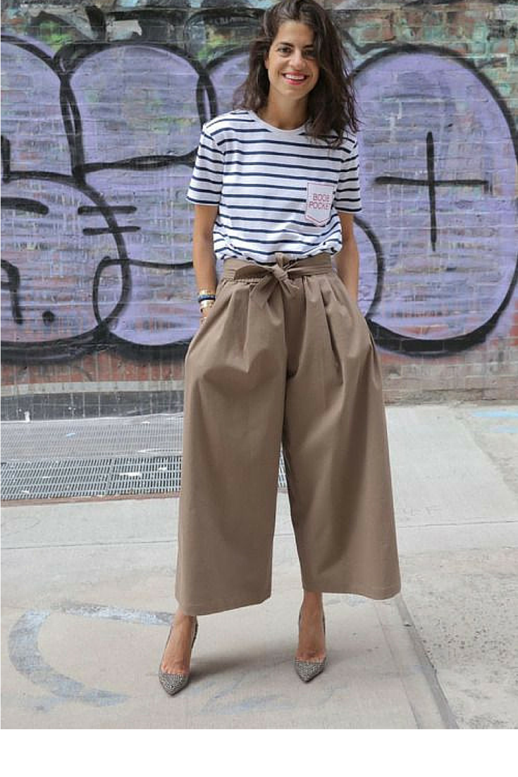 sneakers and pearls, street style, wear a plain tee with a pair of cullottes and heels for an instant update of your mood and your wardrobe.png