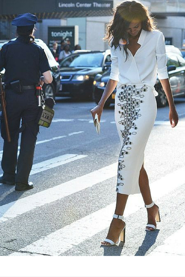 sneakers and pearls, white long pencil skirt with a white shirt to show them who's the boss,trending now.png