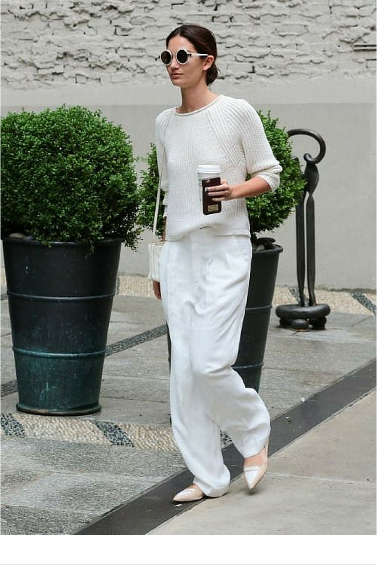 sneakers and pearls, street style, total white look, leave your wide long pants sweep the floor, trending now.png