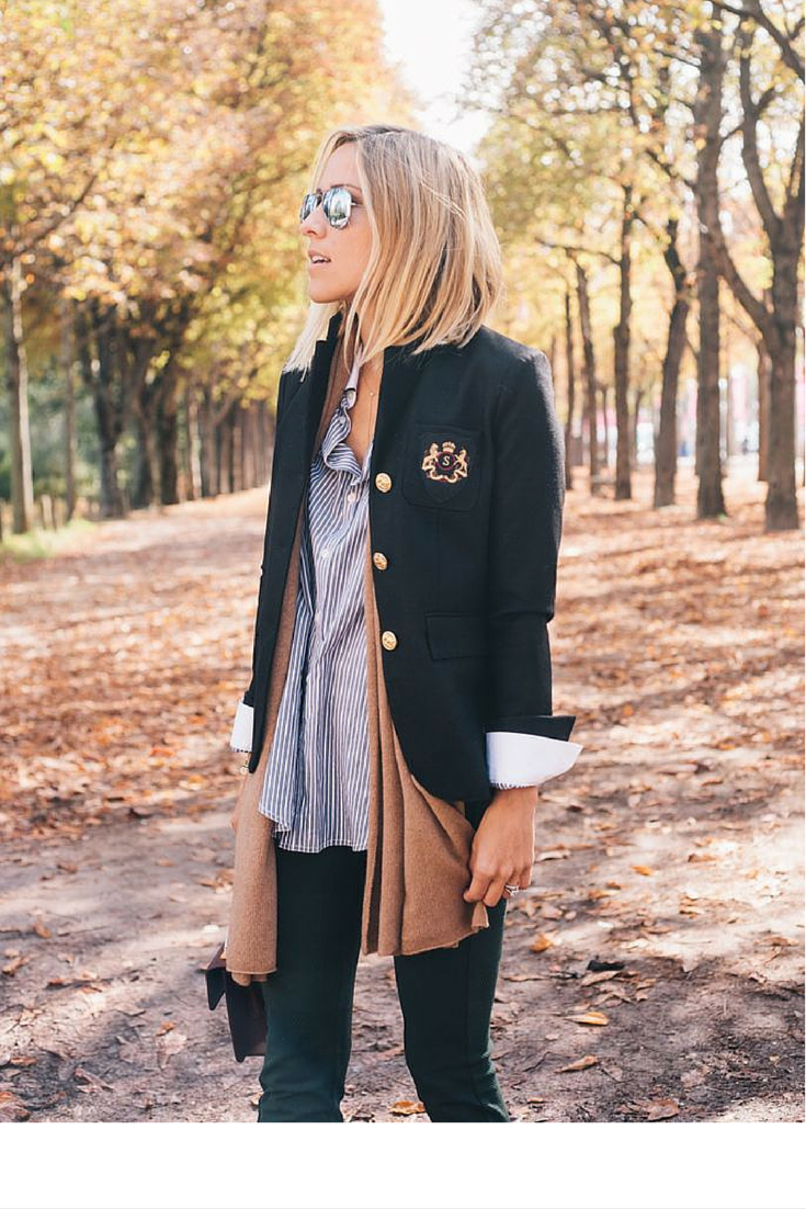 sneakers and pearls, dlayer your cardigan under a blazer for those warmer days, trending now.png