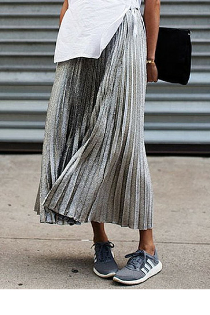 sneakers and pearls, streetstyle, grey pleeted skirt, grey Adidas sneakers, trending now, la cool et chic.png