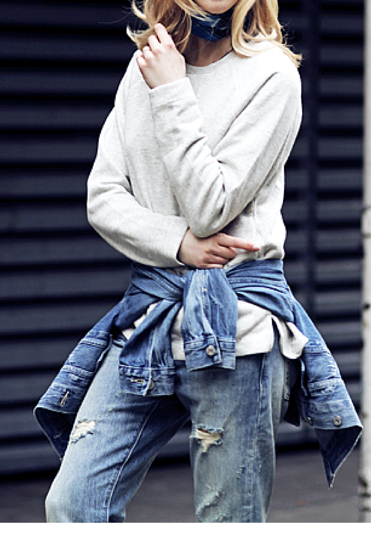 sneakers and pearls, streetstyle, grey sweatshirt, ripped jeans, denim jacket around the waist, trending now, la cool et chic.png