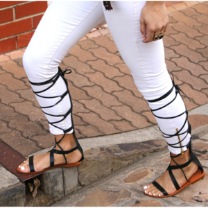 They are finally here. The latest trend of knee high gladiators that you will love. Soft leather straps that will adjust to your legs. Team them up with short hems for a summer look and make a statement by wearing them over jeans to keep your legs warm in those cold days.