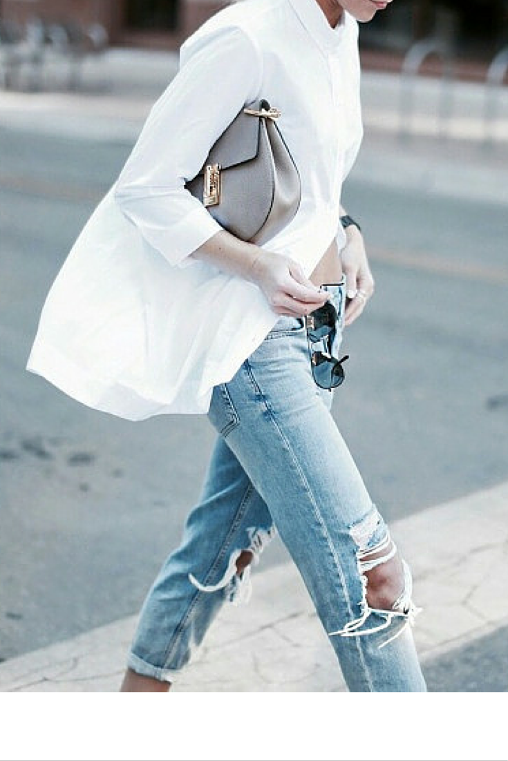 sneakers and pearls, street style, knee rippped jeans with a white asymmetric shirt, trending now,lovely--delight.png