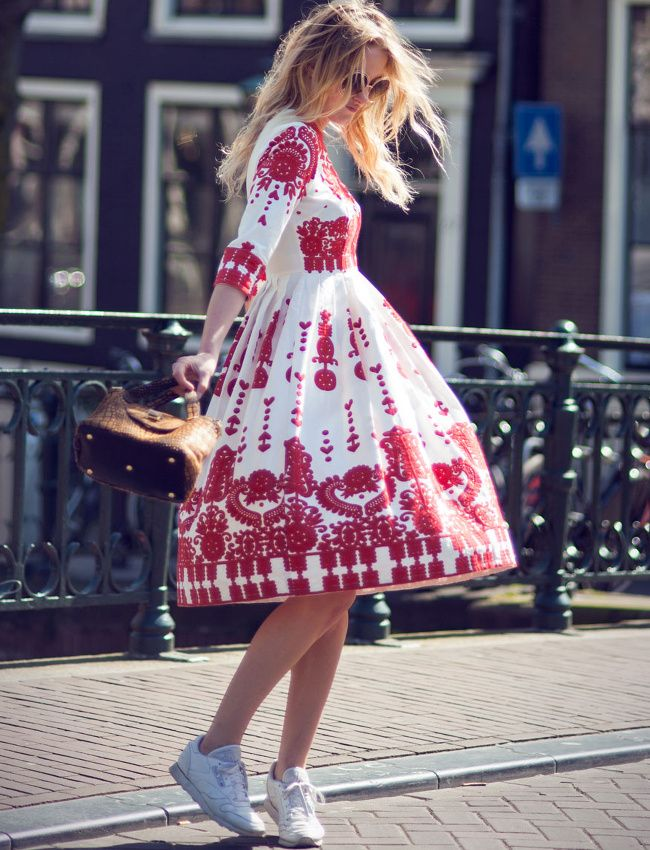 sneakers and pearls, street style, elegant dress to match with cool sneakers, trending now.jpg