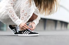 sneakers and pearls, street style, mix and match, elegance and comfort, black Adidas sneakers, trending now.jpg