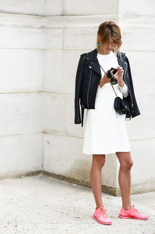 sneakers and pearls, street style, white shift dress, black leather jacket, hot pink Nike sneakers, trending now.jpg