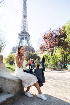 sneakers and pearls, street style, Paris, white summer dress, white sneakers, trending now.jpg