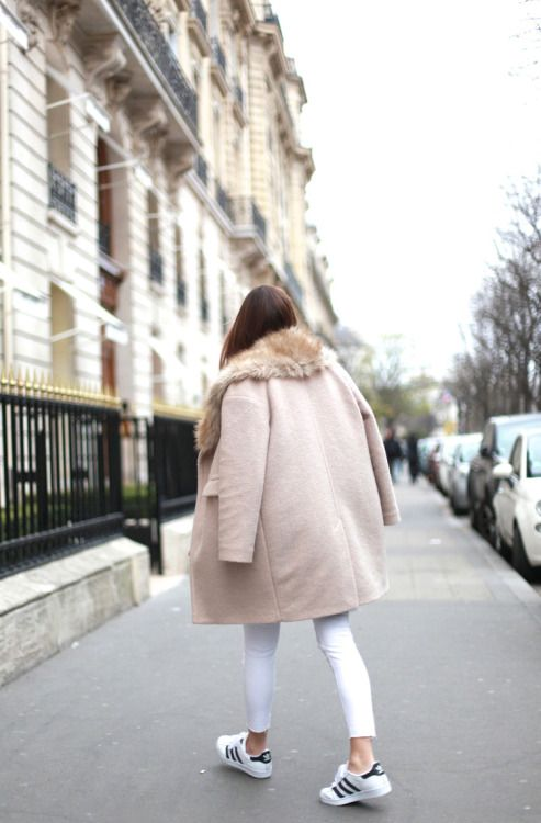 sneakers and pearls, street style, the art of layering, white adidas sneakers,white jeans in winter, trending now.jpg