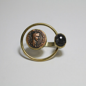 sneakers and pearls, coin ring with black onyx, ethnic style, trending now.png