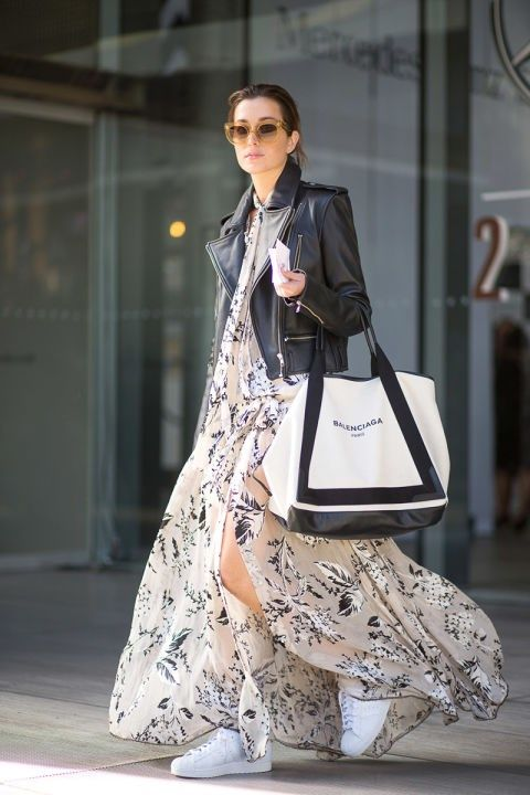 sneakers and pearls, street style, the art of layering, white sneakers, trending now. black leather jacket over a long dress.jpg