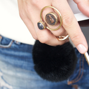 sneakers and pearls, street style, coin ring with onyx, black fur keyring ball, trending now.png