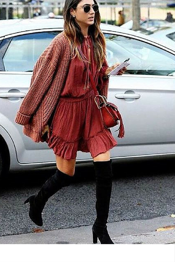 sneakers and pearls, street style, boho dress with knee high boots for a transition to autumn, trending now, street style, u-la-la-land.jpg