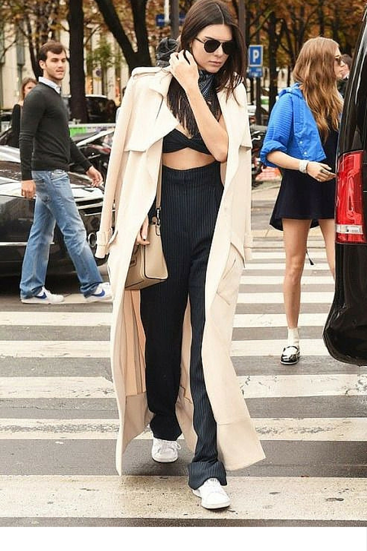 sneakers and pearls, street style, kendal jenner, cropped top with high waist pants and sneakers, trending now, uh-la-la-land.jpg