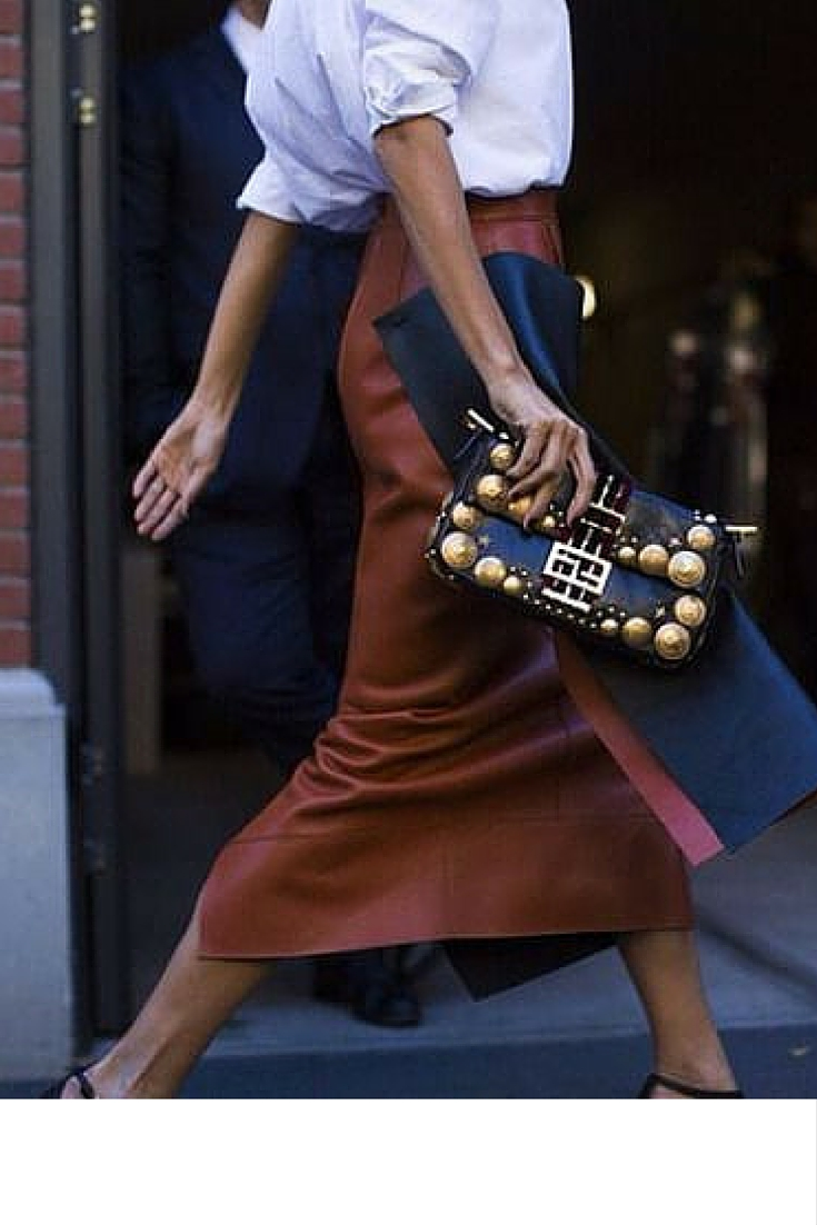sneakers and pearls, street style, cool leather skirt with a shirt, trending now, uh-la-la-land.jpg