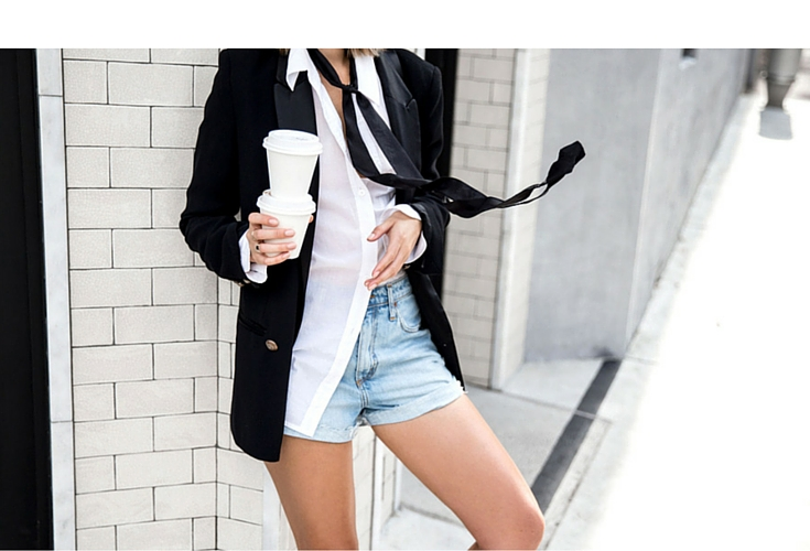 sneakers and pearls, street style, casual yet elegant look, wear jeans with a white shirt and a black blazer  for a cool look, black thin scarf, trending now, uh la la land.jpg