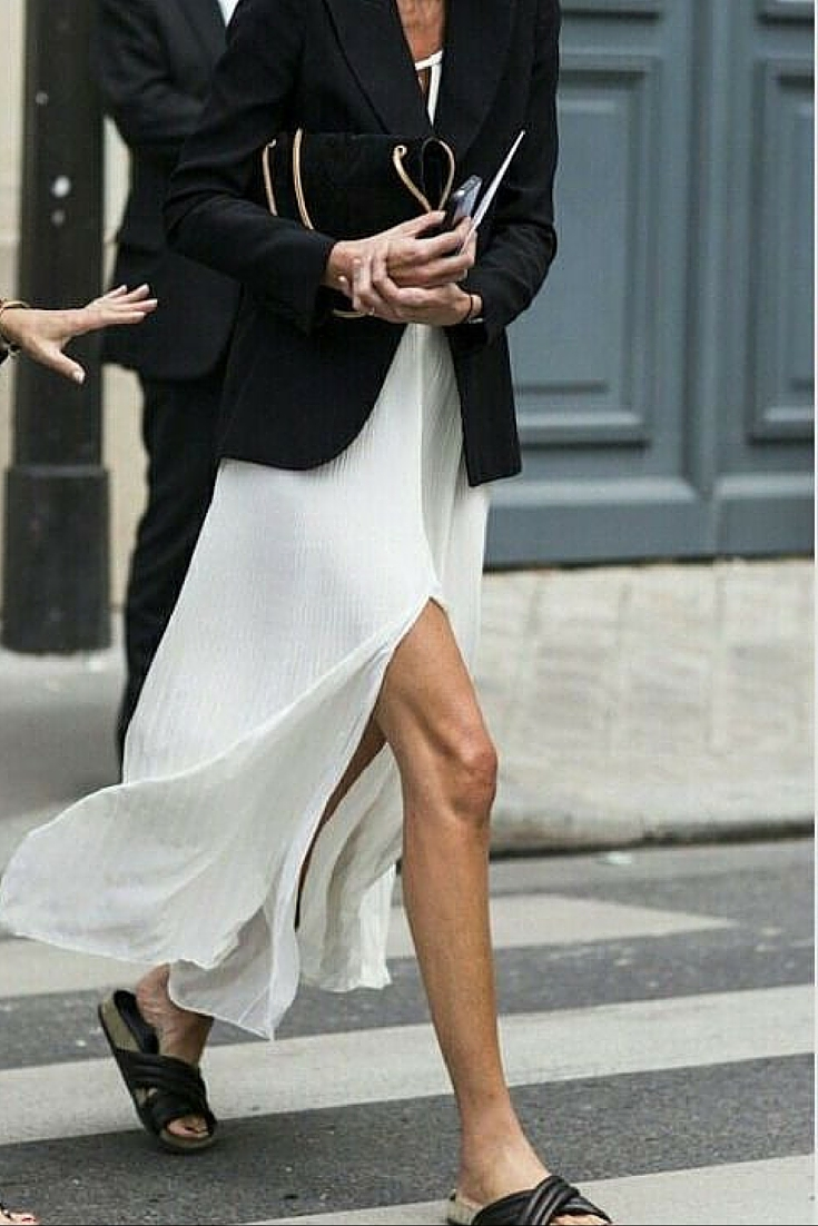 sneakers and pearls, street style, casual yet elegant look, wear slip on flats with a hite dress and a smart blazer for an eye turning look, trending now, uh la la land.jpg
