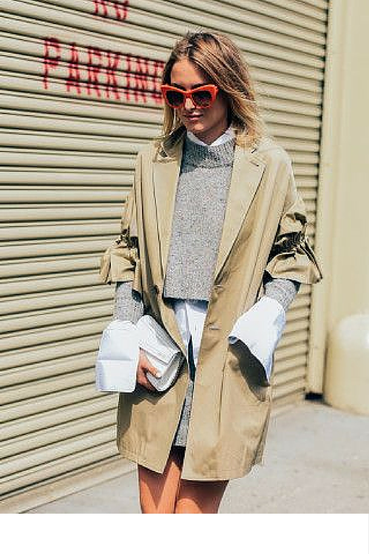 sneakers and pearls, street style, layering white shirt with grey twin set skirt and a trench, tommyton,  trending now.jpg