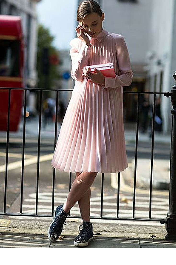 sneakers and pearls, street style, wear a soft feminine dress with sneakers, trending now, katydenormandie.jpg