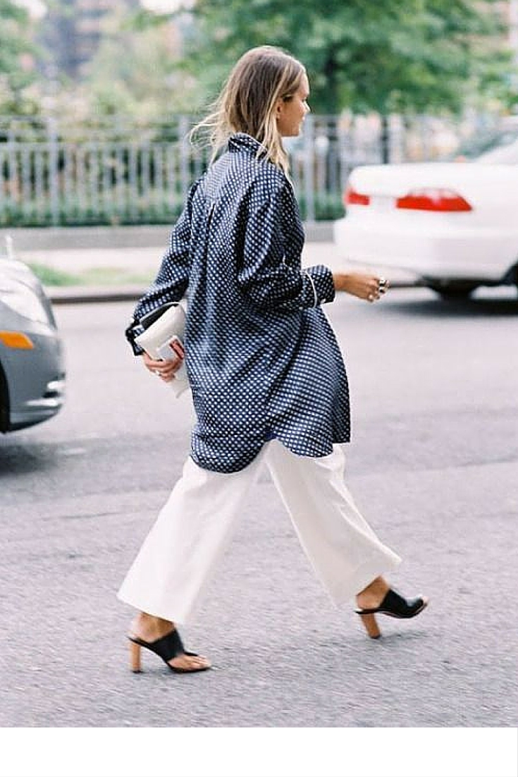 sneakers and pearls, street style, white pants, pyjama shirt, trending now.jpg