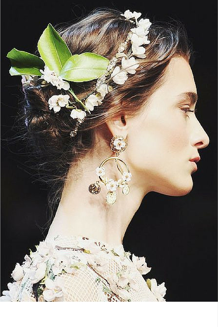 sneakers and pearls, runway look, dolce and gabbana, hair decoration with flowers, lavish earrings, trending now.jpg