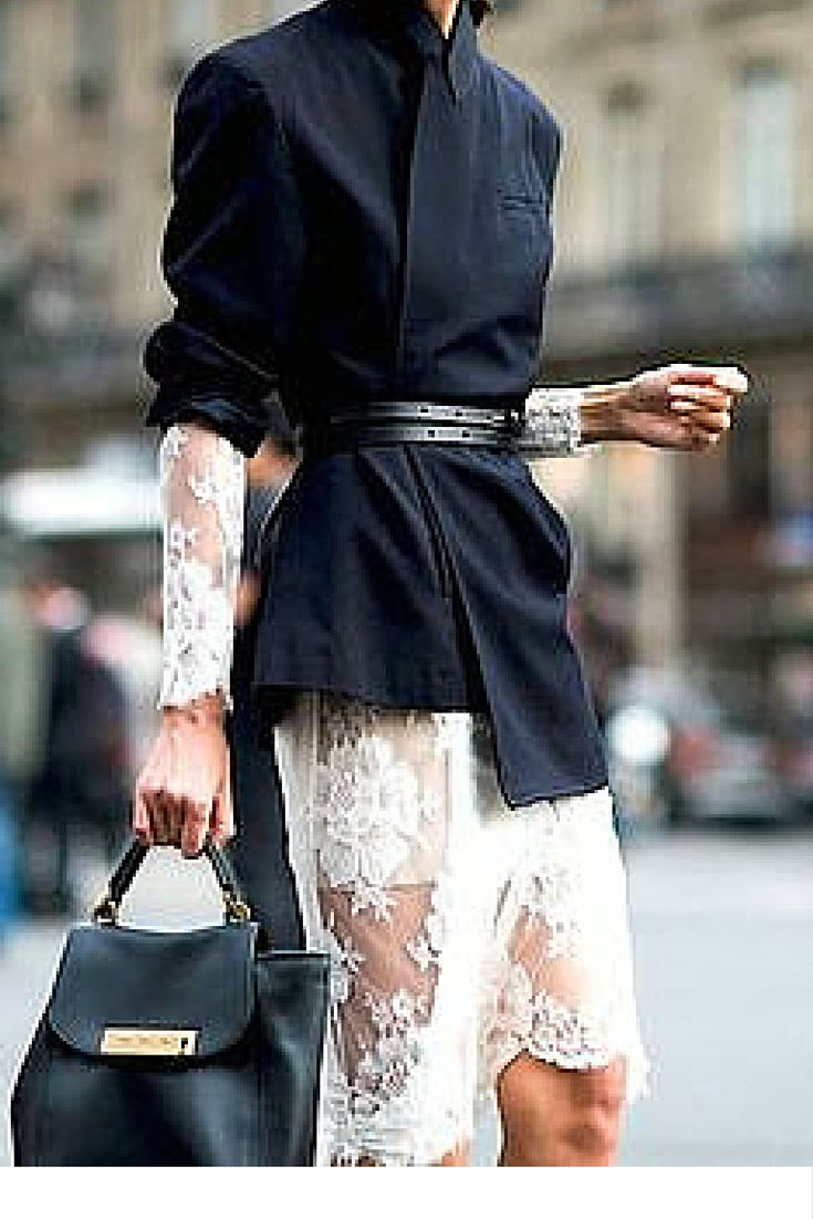 sneakers and pearls, black blazer over a white lace dress, street style, trending now.jpg
