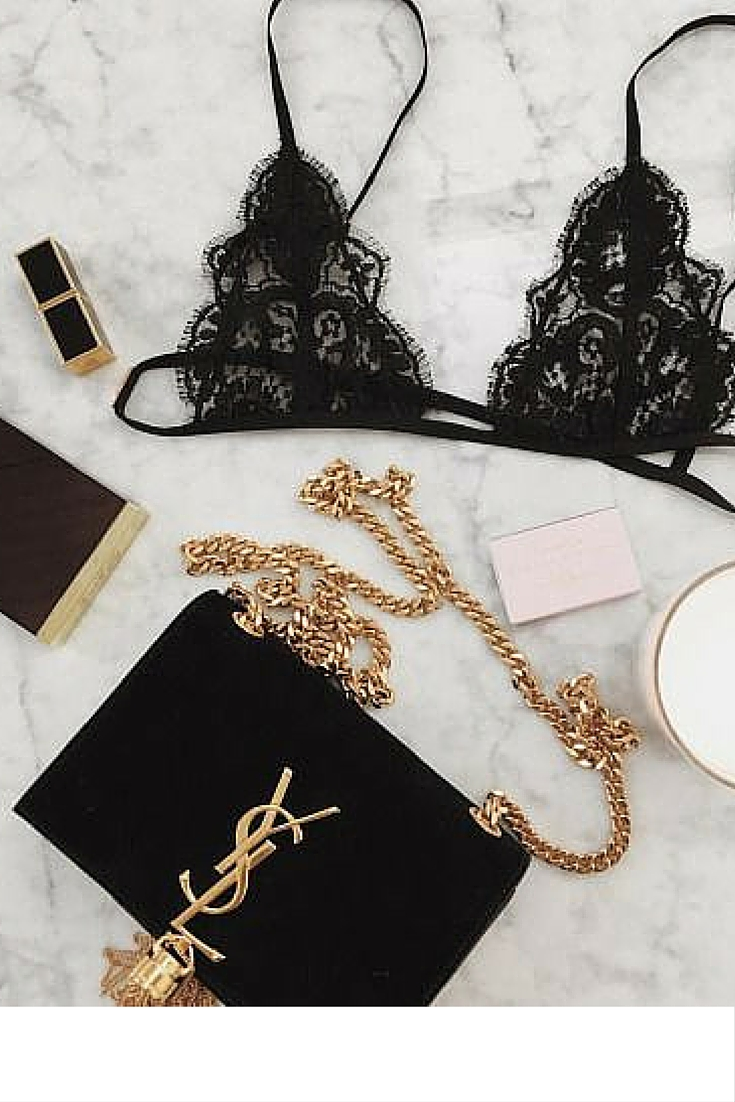 sneakers and pearls, black lace bra, yves saint laurent black tassel bag, trending now.jpg