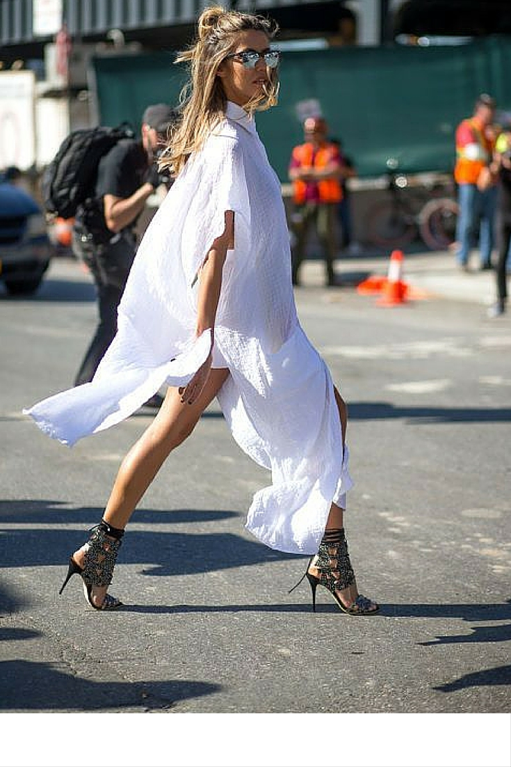 sneakers and pearls, street style, long white shirt dress with gladiator heeled sandals, trending now.jpg