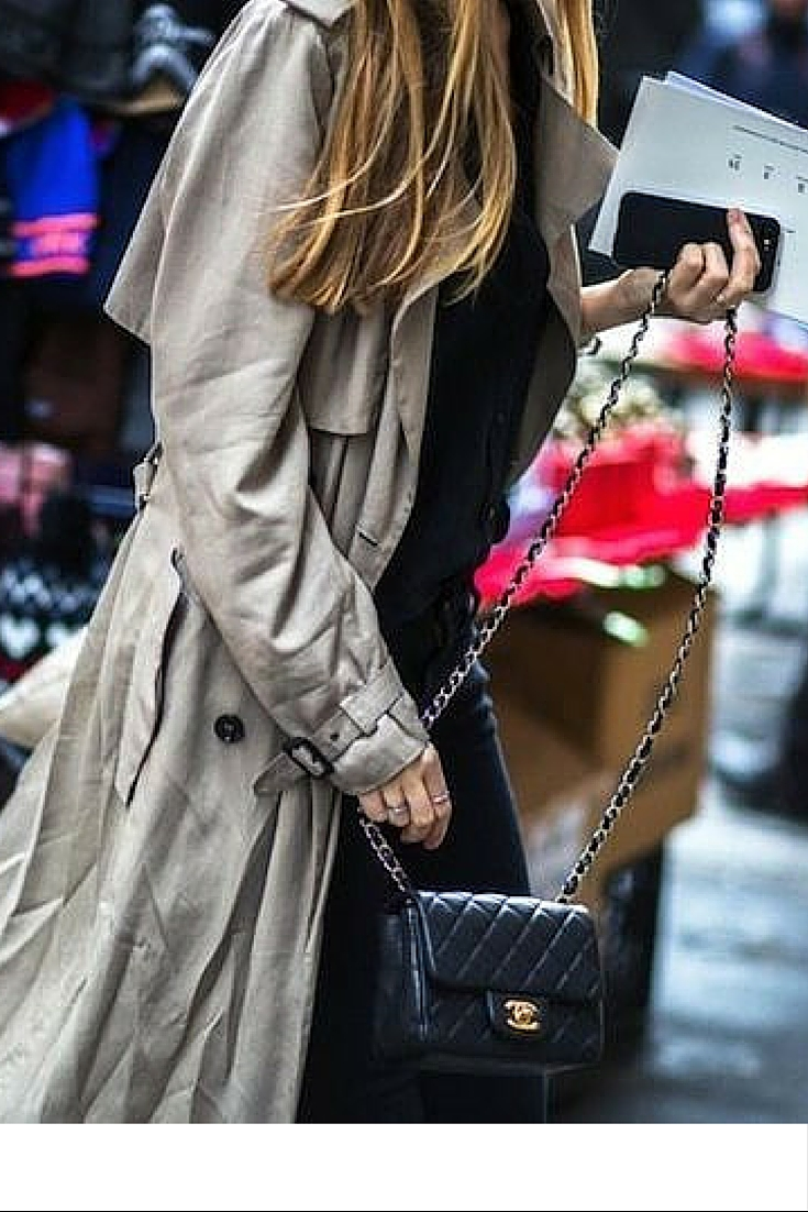 sneakers and pearls, street style, throw a trench over a total black ensemble for smart office wear, trending now.jpg