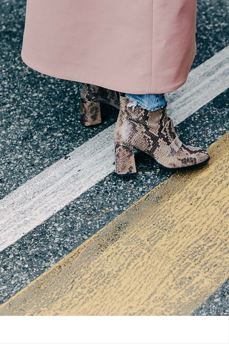 sneakers and pearls, street style, powder pink coat with snake skin booties, trending now..jpg