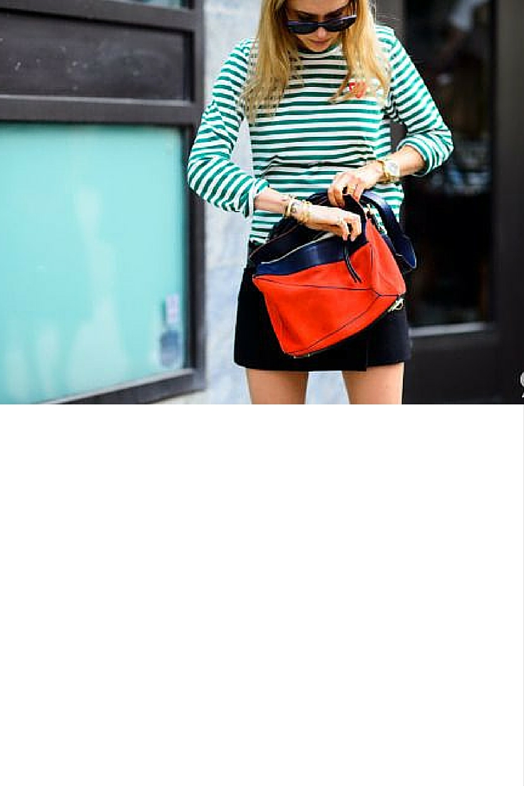 sneakers and pearls, street style, stripy top with a black skirt, trending now..jpg