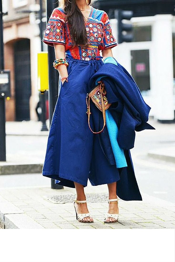 sneakers and pearls, street style, blue culottes with an ethnic top and white sandals, trending now..jpg