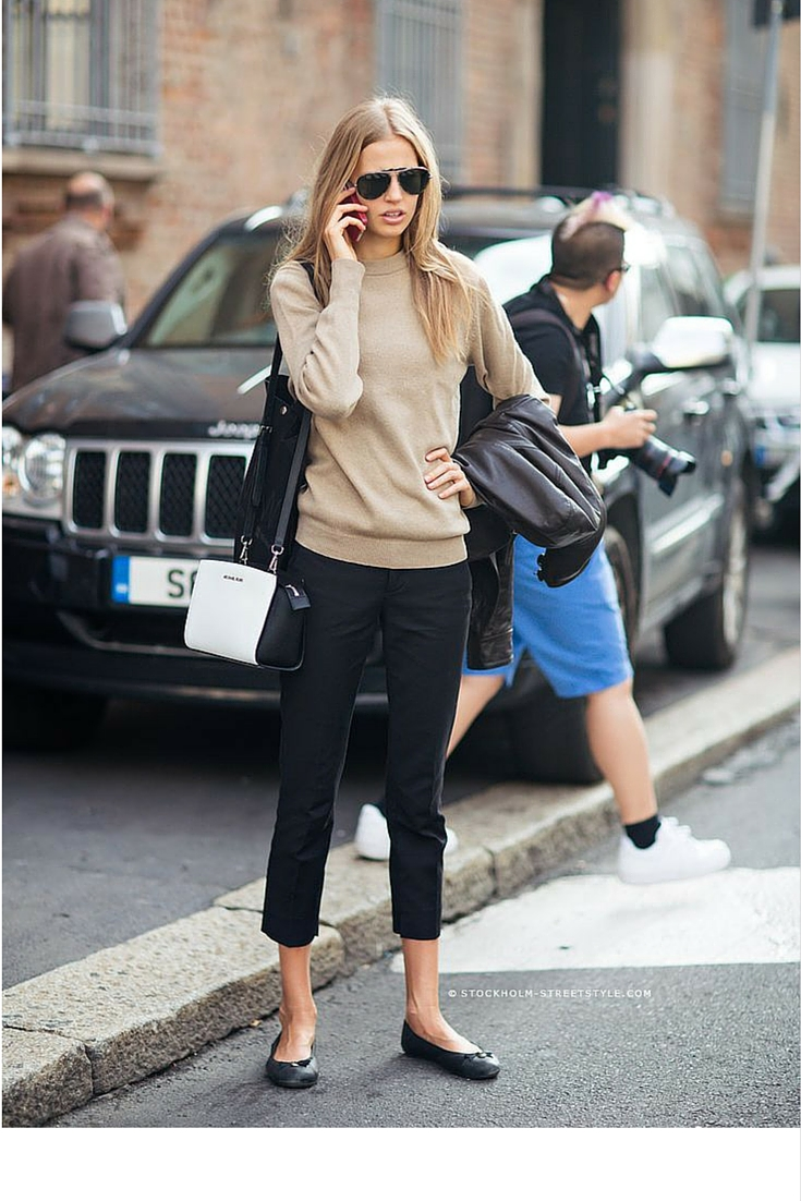 sneakers and pearls, street style, office wear with a twist, black cropped pants with a camel jumper for an off duty look, trending now.jpg