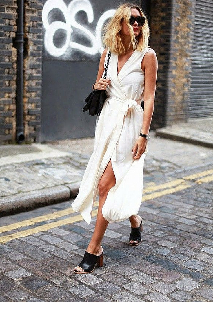 sneakers and pearls, street style, beige wrap dress woth black mules, trending now.jpg