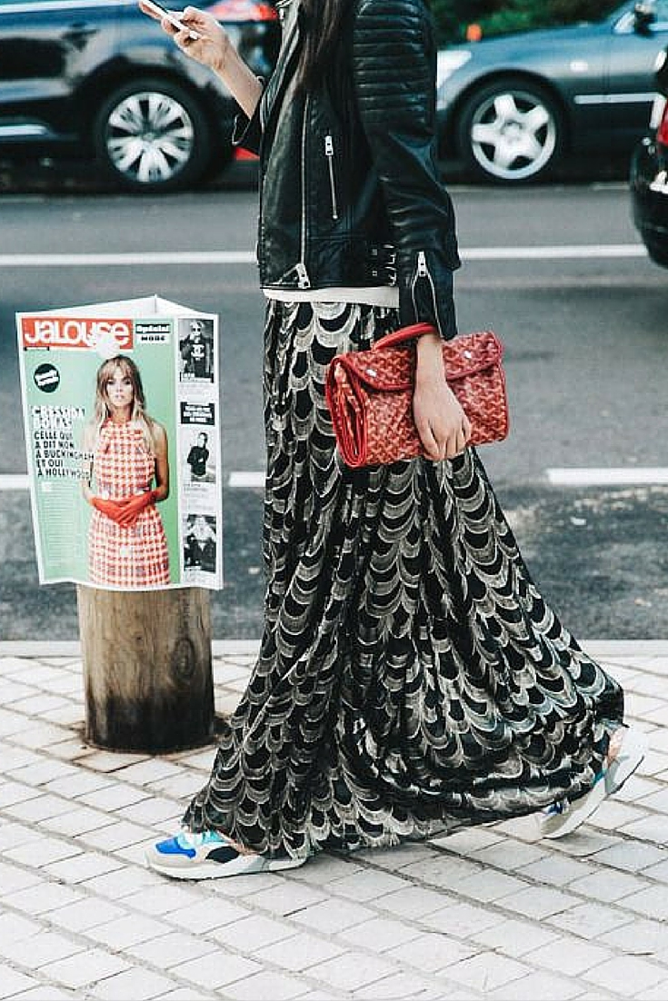 sneakers and pearls, street style, sneakers and long skirts with a leather jacket, trending now.jpg
